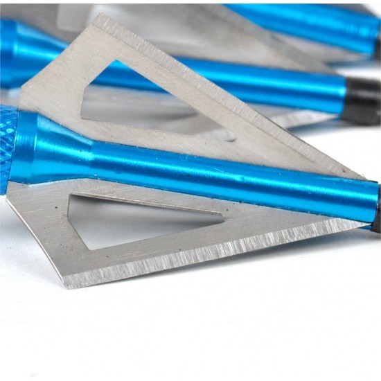 Sinbadteck Hunting Broadheads, 12PK 3 Blades Archery Broadheads 100 Grain Screw-in Arrow Heads Arrow Tips Compatible with Traditional Bows and Compound Bow(Blue)