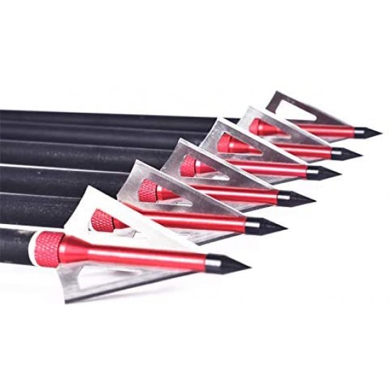 Sinbadteck Hunting Broadheads, 12PK 3 Blades Archery Broadheads 100 Grain Screw-in Arrow Heads Arrow Tips Compatible with Traditional Bows and Compound Bow (Red)
